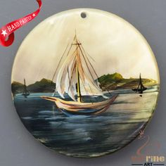 HAND PAINTED SAIL BOAT NATURAL BLACK LIP SHELL NECKLACE PENDANT ZL30 06005 #ZL #PENDANT