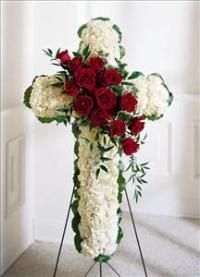 White carnations and red roses are designed into this religious floral display. Appropriate to send to the funeral home. Arrangement is delivered with an easel for display. Arrangements Funéraires, Funeral Floral Arrangements, Casket Flowers, Funeral Flowers, Happy Flowers, Beautiful Flowers, Ftd Floral, Funeral Sprays, Memorial Flowers