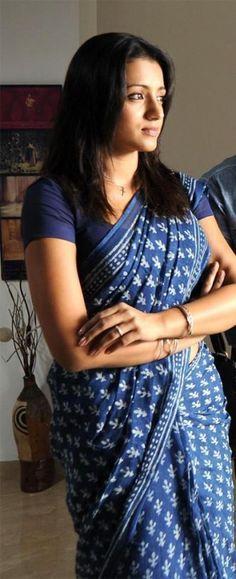 Trisha in blue block printed cotton saree