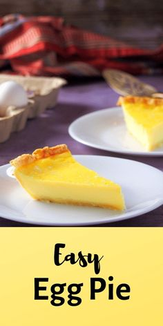 An easy egg pie recipe that uses kitchen staple ingredients. It is lightly sweet and not too rich, perfect for your everyday dessert indulgence. #eggs #custard #pastries #pies