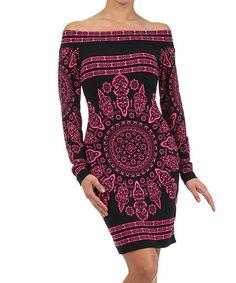 I could've rocked this back in my days. Lol... Pink & Black Arabesque Off-Shoulder Dress