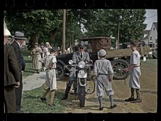 Talking to the law. At the Albany VT fair, Sept. 1936. Photo by Carl Mydans.
