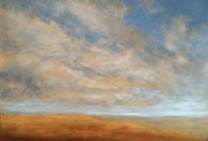 """'Sketching Clouds in Oils' - a study of clouds over the North Norfolk coast. 18"""" x 24"""" Oil on Canvas."""