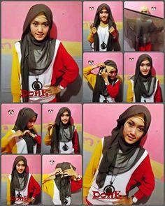 Finally! A super pretty way to wear a square hijab! <3