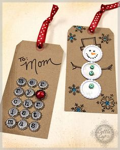 Christmas gift tags using bottle caps