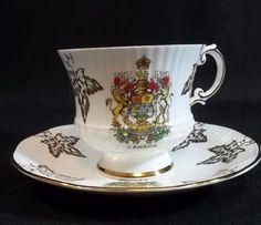 Elizabethan Tea Cup Saucer Fine Bone China Canada Made in England Maple Leaf #na #Elizabethan