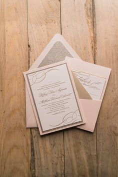 THERESA Suite Panel Pocket Package, blush and gold, affordable luxury wedding invitations, letterpress, glitter envelope liner