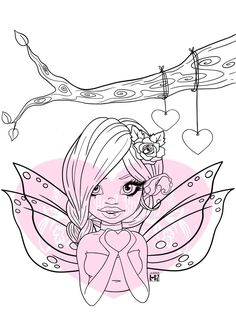IMG00558-Valentine-Fairy Digital Digi Stamp Can Can T, Fairy Coloring Pages, Types Of Craft, Illustrated Faith, Digi Stamps, Doll Patterns, Craft Supplies, Card Making, Arts And Crafts