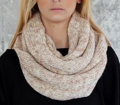 Knit Scarf  with button  infinity scarf circle scarf by KnitScarf, $20.90