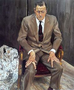 Lucian Freud Portrait of H. Thyssen-Bornemisza (Man in a Chair), Oil on canvas. Sigmund Freud, Lucian Freud Paintings, Robert Rauschenberg, Bella Freud, Artists And Models, Edward Hopper, Renoir, David Hockney, Famous Artists