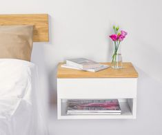 Modern Bedroom Ideas Which Meet Comfort – Chocoazon Small Nightstand, Bedside Shelf, Rustic Nightstand, Floating Nightstand, Space Furniture, Furniture For Small Spaces, Cool Furniture, Furniture Design, White Floating Shelves