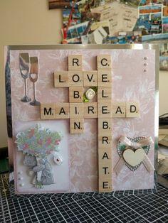 Scrabble board wedding card with tatty teddy decoupage, liquid pearls and die cut embellishments