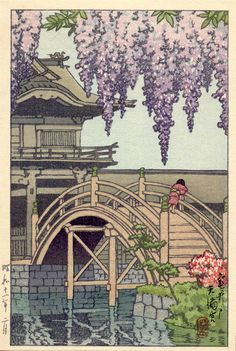 Kameido Shrine, by Kawase Hasui, 1936