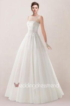 Awesome Beaded Sheer Neck Sweep Princess Wedding Dress