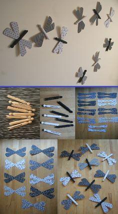 Wanddecoratie. Libelles voor op de muur (weer eens iets anders dan vlinders). Eenvoudig zelf te maken (zie foto's).