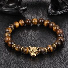 Enhance Your Style Fine or Fashion: Fashion Item Type: Bracelets Style: Leopard, Buddha, Lion, Skull, Crown, Elephant Gender: Unisex Setting Type: Tension Setting Material: Stone Chain Type: Beaded Br