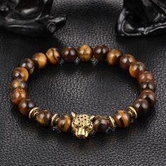Leopard Head Bracelet Lava Natural Stone Beaded Bracelets For Men or Women