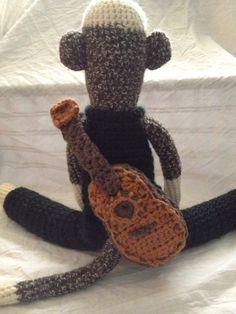 Crocheted Sock Monkey Musician Rock star by SockMonkeyMountain