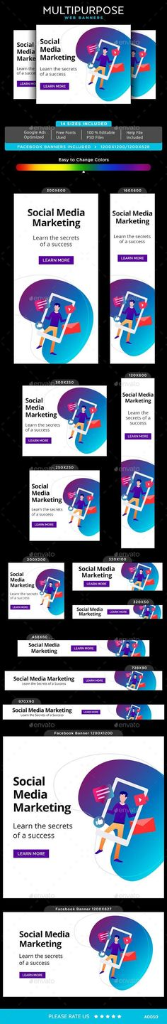 Buy Multipurpose Web Banner Set by Kimp_io on GraphicRiver. Promote your Products and services with this great looking Banner Set. Facebook Ad Size, Vector Design, Graphic Design, Banner Template, Goods And Services, Banner Design, Artist At Work, Web Banners, The Help