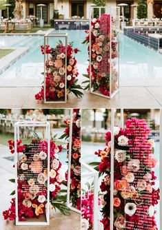 This Retro Glam Bougainvillea Estate Wedding was Inspired by Frank Sinatra and Desert Blooms - Modern + vibrant floral-filled clear boxes that doubled as a seating chart at this California recep - Wedding Trends, Wedding Tips, Wedding Designs, Wedding Table, Wedding Favors, Budget Wedding, Perfect Wedding, Dream Wedding, Wedding Day