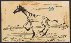 Citation: Karl Priebe postcard to Sylvia Fein, 1944 February Sylvia Fein papers, Archives of American Art, Smithsonian Institution. Archives Of American Art, Okapi, February 9, Snail Mail, Bird Feathers, Amazing Art, Birds, Letters, Horses