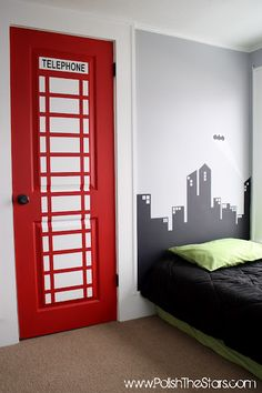 SUPERHERO BEDROOM.  Great idea but should be blue police box.