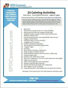 25 Calming Activities - Calming Techniques for Children with Sensory Processing Disorder Tap the link to check out fidgets and sensory toys! Sensory Tools, Autism Sensory, Sensory Diet, Sensory Issues, Calming Activities, Sensory Activities, Therapy Activities, Sensory Integration Therapy, Sensory Therapy