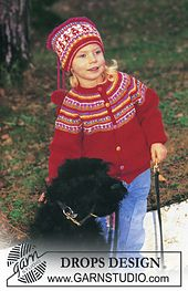 Norwegian style DROPS jacket with yoke and hat in Baby Merino Free pattern by DROPS Design. Toddler Cardigan, Knitted Baby Cardigan, Baby Pullover, Knitted Hats, Ravelry Free Patterns, Knitting Patterns Free, Free Knitting, Baby Knitting, Crochet Patterns