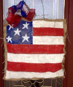 Hand+painted+Burlap+American+Flag+Door+Hanger+by+RattleandRoll,+$25.00