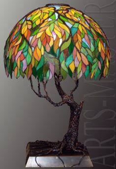Лампа витражная настольная «Деревце»