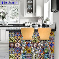 Kitchen/bathroom backsplash Tile/Wall/stair decal : by Bleucoin Paint For Kitchen Walls, Kitchen Wall Tiles, Kitchen Backsplash, Kitchen Decor, Backsplash Design, Paint Walls, Room Tiles, Bathroom Flooring, Flooring For Stairs