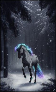 Frozen to the Heart by Lunameyza on DeviantArt Unicorn And Fairies, Unicorn Fantasy, Unicorn Art, Cute Fantasy Creatures, Mythical Creatures Art, Magical Creatures, Creature Drawings, Horse Drawings, Dark Fantasy Art