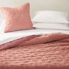 Audra Blush Velvet Bed Linens at Crate and Barrel Canada. Grey Velvet Bed, Green Velvet, Small Bedroom Furniture, Custom Furniture, Unique Furniture, Crate And Barrel, Navy Bedding, Dusty Rose Bedding, Velvet Quilt