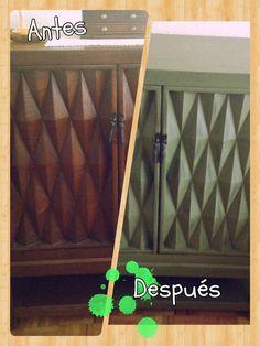 Antes y después de mueble de madera actualizado con #chalkpaint de #americana decor
