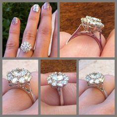 Diamond cluster engagement ring.