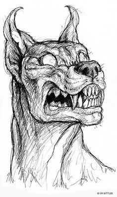Resultado de imagen para scary drawings of demons easy Scary Drawings, Demon Drawings, Dark Art Drawings, Pencil Art Drawings, Art Drawings Sketches, Animal Drawings, Art Sketches, Drawings Of Angels, Drawings Of Dogs