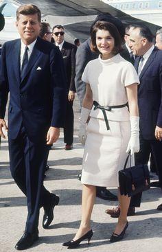 Jacqueline Kennedy Onassis vintage fashion style color photo print ad model magazine white wool dress black bow belt shoes gloves purse 60s