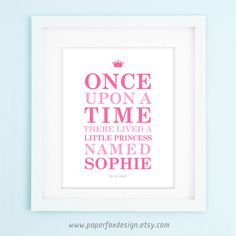 Little Princess Nursery Print DIY Personalized by PaperFoxDesign