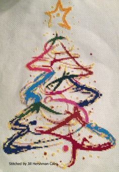Abstract Christmas tree cross stitch kit, pattern | Yiotas XStitch