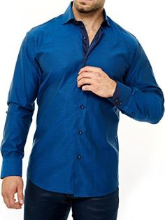 Maceoo's Men's Dress Shirt Wall Street Blue Black  This Maceoo shirt is made from 100% lone-stem fine cotton and is perfect for any casual, semi-formal or formal setting. It can be dressed up or dressed down depending on your personal style. The shirt does feature a slim fit that is common for for dress shirts. Button down is perfect for any casual, semi-formal or formal event. Button down is perfect for any casual, semi-formal or formal event. Dress shirt features a slim, tailored c..
