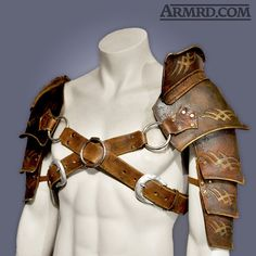 This is 100% hand made leather shoulder armour, ideal for use in cosplay, LARP, stage & screen. Its an original design constructed from quality 3.5mm