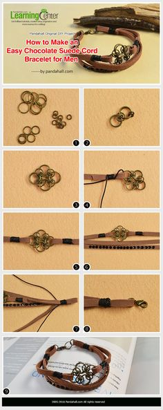 Pandahall Original DIY Project - How to Make an Easy Chocolate Suede Cord Bracelet for Men from LC.Pandahall.com Leather Jewelry, Jewelry Clasps, Diy Jewelry, Leather Cord Bracelets, Bracelets Diy, Diy Leather Bracelet, Handmade Bracelets, Cordons, Diy Necklace