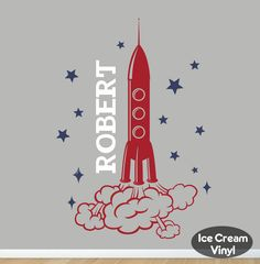 Rocket Name Wall Decal for Boys Girls Room Nursery Space Stars Vinyl Childrens Decor by IceCreamVinyl on Etsy https://www.etsy.com/listing/234843386/rocket-name-wall-decal-for-boys-girls