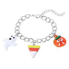 Zhenhui Enamel Ghost Pumpkin Silver Link Charm Bracelet for Women Girls Kids Halloween Gift >>> Learn more by visiting the image link.