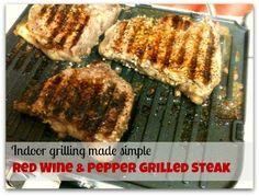 Indoor Grilling Recipes: Red Wine & Pepper Grilled Steak Recipe
