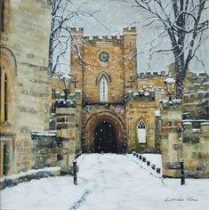 Durham Castle Gatehouse by Linda Vine — Linda Vine Art Durham Castle, Durham City, Durham University, Gate House, Snow Scenes, Vines, Original Art, New Homes, Photo And Video