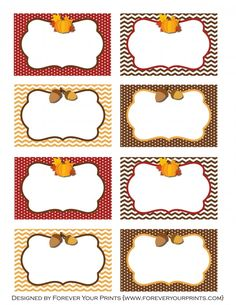 Free printables Thanksgiving food table cards