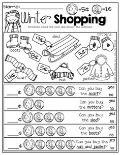 Money management worksheets—-Winter Shopping with nickels and pennies! Prefect for adding up to 10 and comparing numbers! Teaching Money, Student Teaching, Money Activities, Math Resources, Money Games, Math For Kids, Fun Math, Math Games, Maths