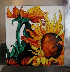 Sunflowers - glass painting