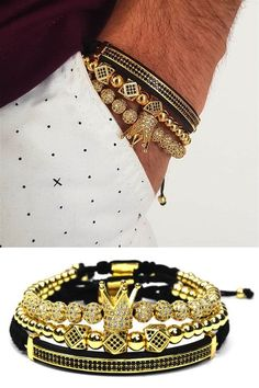 Men's Crown Bracelet Set With Macrame Bracelet and Black Cuff Bracelet – Men's style, accessories, mens fashion trends 2020 Bracelets For Men, Fashion Bracelets, Jewelry Bracelets, Fashion Jewelry, Men's Jewelry, Jewelry For Men, Silver Jewelry, Fashion Clothes, Silver Ring